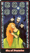 Six of Coins Tarot card in Vampire Tarot Tarot deck
