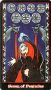 Seven of Coins Tarot card in Vampire Tarot Tarot deck