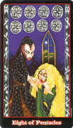 Eight of Coins Tarot card in Vampire Tarot Tarot deck