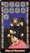 Nine of Coins Tarot card in Vampire Tarot deck