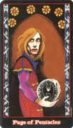 Page of Coins Tarot card in Vampire Tarot deck