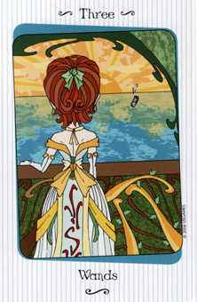 Three of Rods Tarot Card - Vanessa Tarot Deck