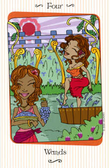 Four of Batons Tarot Card - Vanessa Tarot Deck