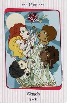 Five of Rods Tarot Card - Vanessa Tarot Deck
