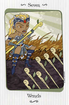 Seven of Rods Tarot Card - Vanessa Tarot Deck