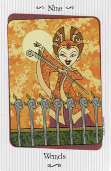 Nine of Rods Tarot Card - Vanessa Tarot Deck