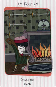 Four of Bats Tarot Card - Vanessa Tarot Deck