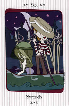 Six of Bats Tarot Card - Vanessa Tarot Deck