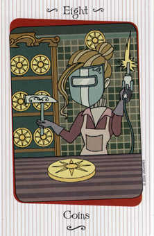 Eight of Coins Tarot Card - Vanessa Tarot Deck