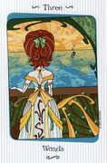 Three of Wands Tarot card in Vanessa deck