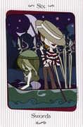 Six of Swords Tarot card in Vanessa deck