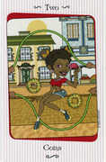 Two of Coins Tarot card in Vanessa deck