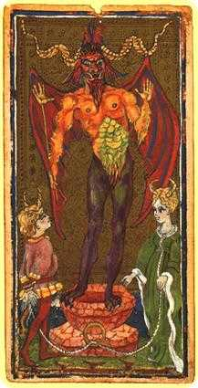 The Devil Tarot Card - Visconti-Sforza Tarot Deck