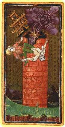 The Falling Tower Tarot Card - Visconti-Sforza Tarot Deck