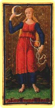 The Moon Tarot Card - Visconti-Sforza Tarot Deck