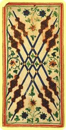 Six of Pipes Tarot Card - Visconti-Sforza Tarot Deck