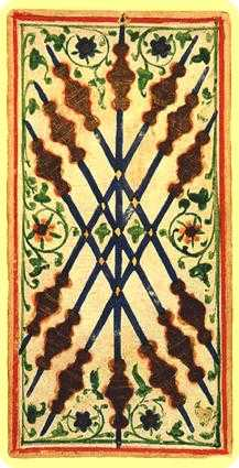 Seven of Rods Tarot Card - Visconti-Sforza Tarot Deck