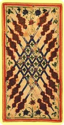 Ten of Staves Tarot Card - Visconti-Sforza Tarot Deck