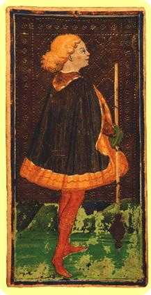 Slave of Sceptres Tarot Card - Visconti-Sforza Tarot Deck
