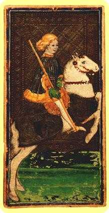 Prince of Staves Tarot Card - Visconti-Sforza Tarot Deck