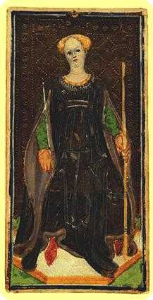 Queen of Rods Tarot Card - Visconti-Sforza Tarot Deck