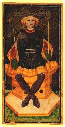 King of Staves Tarot Card - Visconti-Sforza Tarot Deck