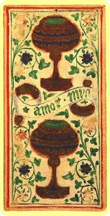 Two of Cups Tarot Card - Visconti-Sforza Tarot Deck