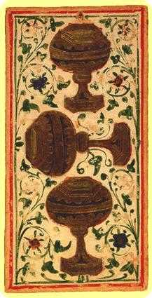 Three of Bowls Tarot Card - Visconti-Sforza Tarot Deck
