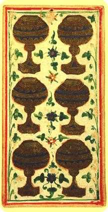 Six of Bowls Tarot Card - Visconti-Sforza Tarot Deck