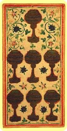 Seven of Hearts Tarot Card - Visconti-Sforza Tarot Deck