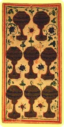 Eight of Cauldrons Tarot Card - Visconti-Sforza Tarot Deck