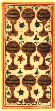 Nine of Bowls Tarot Card - Visconti-Sforza Tarot Deck