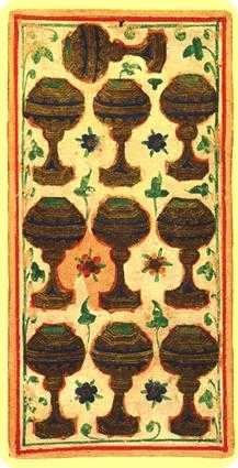 Ten of Hearts Tarot Card - Visconti-Sforza Tarot Deck