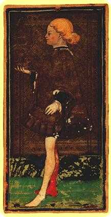 Apprentice of Bowls Tarot Card - Visconti-Sforza Tarot Deck