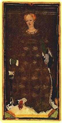 Queen of Ghosts Tarot Card - Visconti-Sforza Tarot Deck