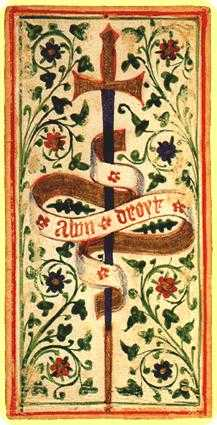 Ace of Wind Tarot Card - Visconti-Sforza Tarot Deck