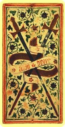 Two of Arrows Tarot Card - Visconti-Sforza Tarot Deck