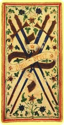Four of Arrows Tarot Card - Visconti-Sforza Tarot Deck