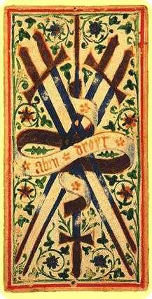 Five of Spades Tarot Card - Visconti-Sforza Tarot Deck