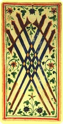 Six of Arrows Tarot Card - Visconti-Sforza Tarot Deck
