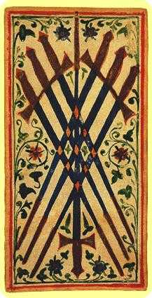 Seven of Arrows Tarot Card - Visconti-Sforza Tarot Deck