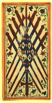Nine of Arrows Tarot Card - Visconti-Sforza Tarot Deck