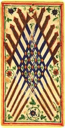 Ten of Arrows Tarot Card - Visconti-Sforza Tarot Deck