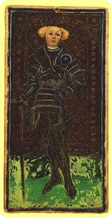 Slave of Swords Tarot Card - Visconti-Sforza Tarot Deck
