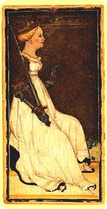 Queen of Swords Tarot Card - Visconti-Sforza Tarot Deck