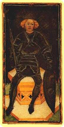 King of Spades Tarot Card - Visconti-Sforza Tarot Deck