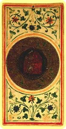 Ace of Rings Tarot Card - Visconti-Sforza Tarot Deck