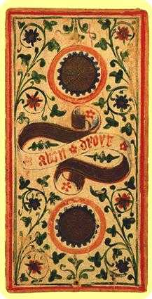 Two of Coins Tarot Card - Visconti-Sforza Tarot Deck