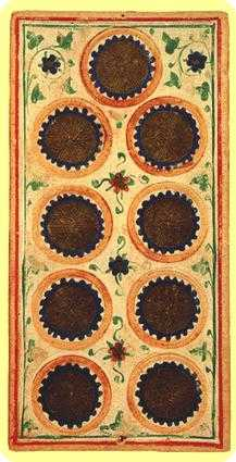 Nine of Pentacles Tarot Card - Visconti-Sforza Tarot Deck
