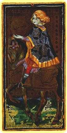 Knight of Coins Tarot Card - Visconti-Sforza Tarot Deck